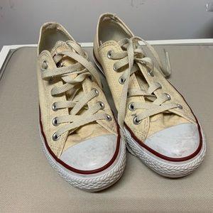 Cream low rise converse
